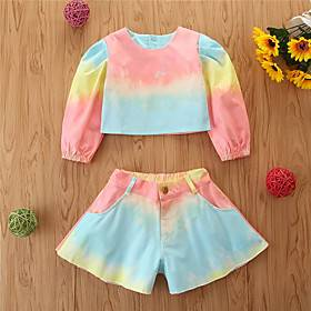 Kids Girls' Basic Color Block Print 3/4 Length Sleeve Short Short Clothing Set Blushing Pink
