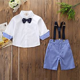 Kids Boys' Basic Solid Colored Bow Half Sleeve Regular Clothing Set White