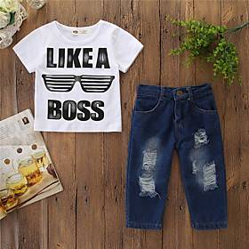 Kids Boys' Basic Letter Print Short Sleeve Regular Regular Clothing Set White