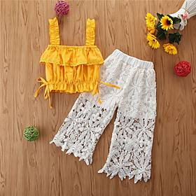 Kids Girls' Basic Solid Colored Ruched Ruffle Lace Trims Sleeveless Short Short Clothing Set Yellow