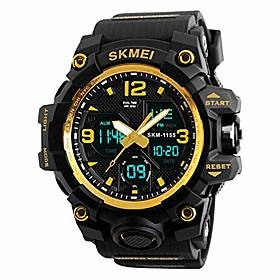 mens digital watches 50m waterproof outdoor sport watch military multifunction casual dual display stopwatch wrist watch - black gold
