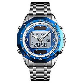silver stainless steel strap outdoor sport watch analog digital led dual time display solar watches for men blue watch face