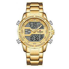 NAVIFORCE Men's Sport Watch Quartz Modern Style Stylish Outdoor Calendar / date / day Analog - Digital Rose Gold Black / Silver GoldenSilver / Two Years / Stai