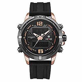 weide digital watch outdoor sports waterproof stopwatch calendar alarm clock wristwatch (black amp; gold)