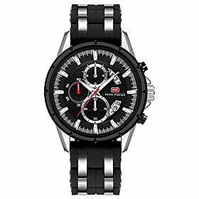 men's chronograph luminous military outdoor sports large quartz wristwach with silicone strap black silver