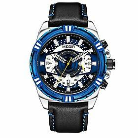 men's 24 hour outdoor sports fashion multifunction automatic calendar quartz wristwatch with leather band