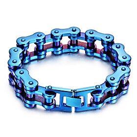 fashion charm men's stainless steel rainbow motorcyle bike chain bracelet