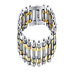 men women stainless steel motorcycle bike biker link chain eternity bracelet wide 12 mm l 7.5'' (white-yellow)