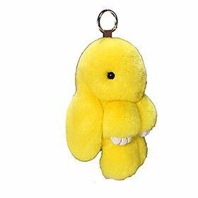 bunny keychain cute rex rabbit faux fur keychain car handbag keyring 5.5in,yellow