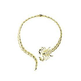 women fashion retro diamond studded collars short scorpion necklace jewelry accessories (gold)