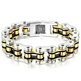 heavy and study mens fancy bike chain bracelet stainless steel silver gold black tri-tone high polished