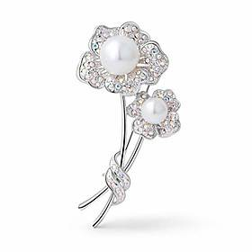 Unique fashion elegant unique pearl brooches with high grade austria crystals for women in silver-tone gifts for mum ladies birthday wedding prom jewellery corsage fl