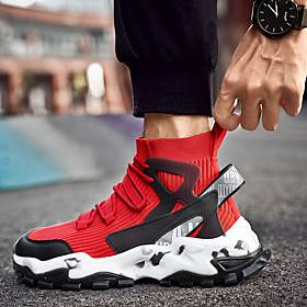 Men's Trainers Athletic Shoes Casual Daily Outdoor Running Shoes Walking Shoes Mesh Black / White Black / Red Black Fall Winter