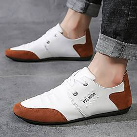 Men's Sneakers Casual Daily Home Walking Shoes Nappa Leather Breathable Non-slipping White Black Summer