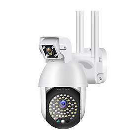 1080P IP Camera Outdoor Dual Lens PTZ Wifi Camera Bidirectional Audio 50 Led Infrared Night Vision Automatic Tracking Home Security Monitoring Camera
