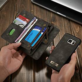 Samsung CaseMe Leather Protective Wallet with Removable Magnetic Closure Cell Phone Cover Many Compartments 11 Card Pockets Zippered Coin Pocket Samsung S7 Filp Bag Pu