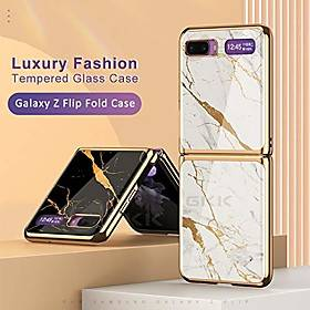 Samsung Luxury Case For Samsung Galaxy Z Flip Marble Style Phone Case Shockproof Back Cover Solid Colored Pattern Hard Protective Cover for Galaxy Z