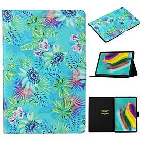 Samsung Case For  Samsung Galaxy Tab A7 2020 T500 T505 Card Holder with Stand Flip Full Body Cases Flower PU Leather Tab A 10.1 T510 S5E 10.5 T720 T725 S7 T870 T875 S6