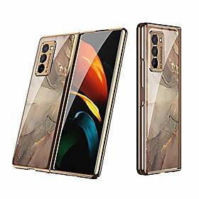 Samsung 2020 new galaxy z fold 2 5g phone case full protection cover for samsung galaxy z fold 2 case with electroplating frame amp; anti-drop glass back cover (champa
