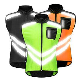 WOSAWE Men's Sleeveless Cycling Vest Orange Green Black Bike Vest / Gilet Windbreaker Jersey Mountain Bike MTB Road Bike Cycling Windproof Reflective Strips Ba