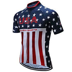 21Grams American / USA National Flag Men's Short Sleeve Cycling Jersey - RedBlue Bike Top Breathable Quick Dry Moisture Wicking Sports Terylene Mountain Bike M