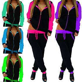 Women's 2 Piece Full Zip Tracksuit Sweatsuit Jogging Suit Street Casual Long Sleeve Breathable Quick Dry Moisture Wicking Running Active Training Jogging Sport