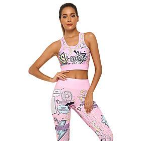 Women's 2pcs Yoga Suit Floral Print Blue Pink Spandex Yoga Fitness Running Sports Bra Tights Sport Activewear Breathable Quick Dry Moisture Wicking Stretchy