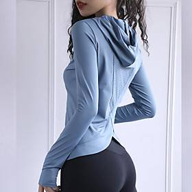 Women's Yoga Top Thumbhole Fashion Black Red Blue Yoga Fitness Running Hoodie Top Long Sleeve Sport Activewear Breathable Moisture Wicking Comfortable Stretchy