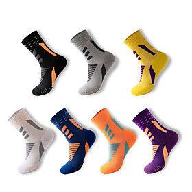 Compression Socks Athletic Sports Socks 7 pairs Long Men's Crew Socks Tube Socks Breathable Sweat-wicking Comfortable Gym Workout Basketball Running Skateboard