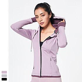 Women's Yoga Top Thumbhole Pocket Fashion Black Purple Grey Mesh Spandex Yoga Fitness Running Hoodie Top Long Sleeve Sport Activewear Breathable Quick Dry Comf