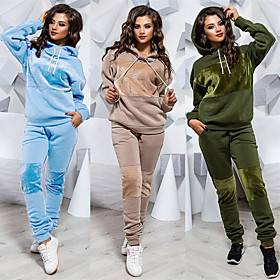 Women's 2 Piece Splice Tracksuit Sweatsuit Jogging Suit Street Casual Long Sleeve Winter Velour Windproof Breathable Soft Gym Workout Running Jogging Exercise