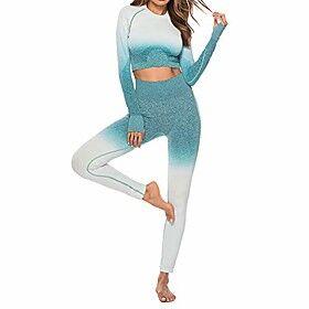 women's sport yoga 2 piece set,gradient suit fitness long sleeve tops and high waist leggings pants tracksuit sets