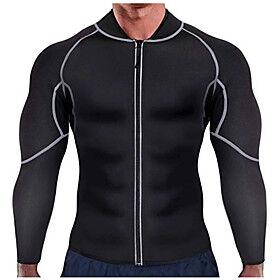 Body Shaper Sweat Waist Trainer Jacket Shapewear Sports Chinlon Nylon Neoprene Yoga Gym Workout Pilates Stretchy Weight Loss Tummy Fat Burner Hot Sweat For Men