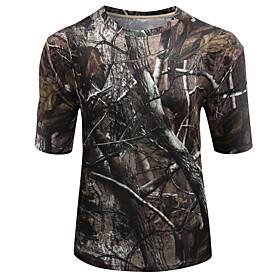 Men's Hunting T-shirt Short Sleeve Outdoor Summer Breathable Quick Dry Sweat-wicking Skin Friendly Classic Top Polyester Taffeta Polyester Camping / Hiking Hun