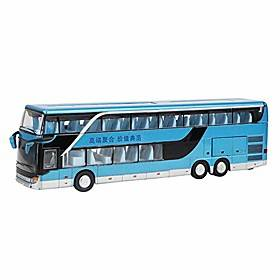 electric 1:50 alloy double decker school bus pull back bus vehicles car model set toy with light music best gift for children toddlers kids(blue)
