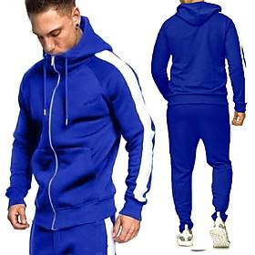 Men's 2 Piece Full Zip Tracksuit Sweatsuit Casual Athleisure Long Sleeve 2pcs Winter Breathable Sweat-wicking Fitness Gym Workout Running Walking Jogging Sport