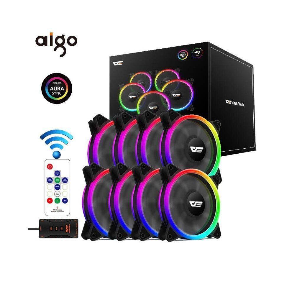Aigo DR12 Pro Computer PC Case Fan RGB Adjust LED Fan Speed 120mm Quiet Remote A