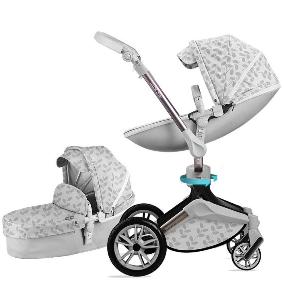 Slowmoose (F023-grey leaf) Baby Stroller 3 In 1 Travel System With Bassinet And Car Seat,