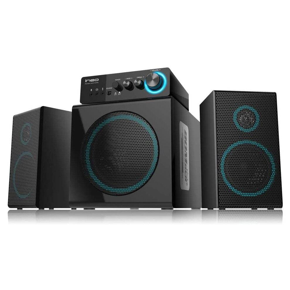 ineo Wooden 2.1 Gaming/PC Speakers with Subwoofers and Individual Control Box (W