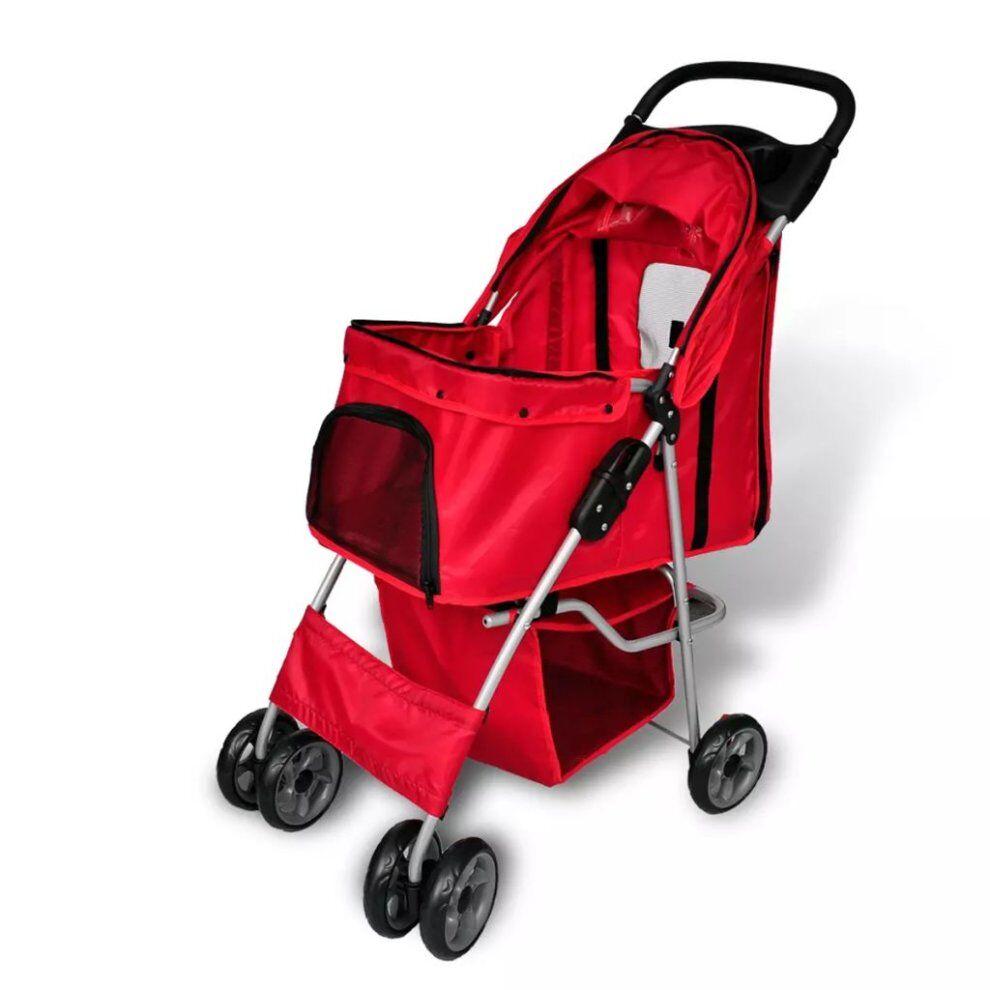 vidaXL Folding Pet Stroller Dog/Cat Travel Carrier Red Transport Trolley Pram