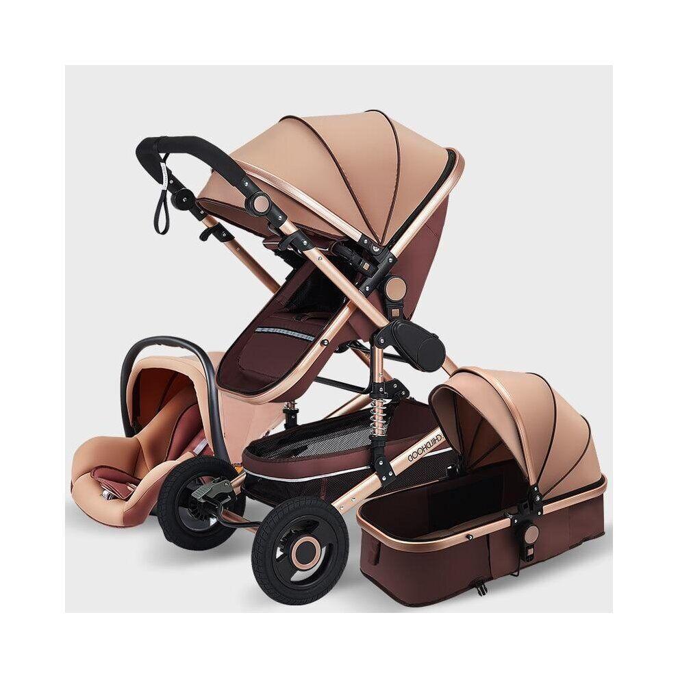 Slowmoose (Khaki) Baby Stroller 3 in 1 Luxury Travel Pram Carriage Basket Baby Car seat an