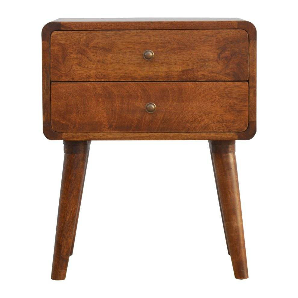 Artisan Furniture Curved Wooden Bedside Table With Two Drawers   Wood Side Table