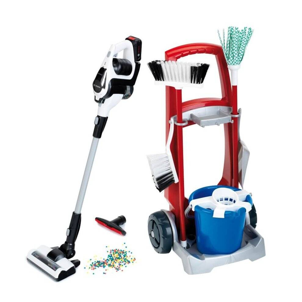 Klein Toys Theo Klein Bosch Cleaning Trolley with Vacuum Cleaner Battery Operated with Suct
