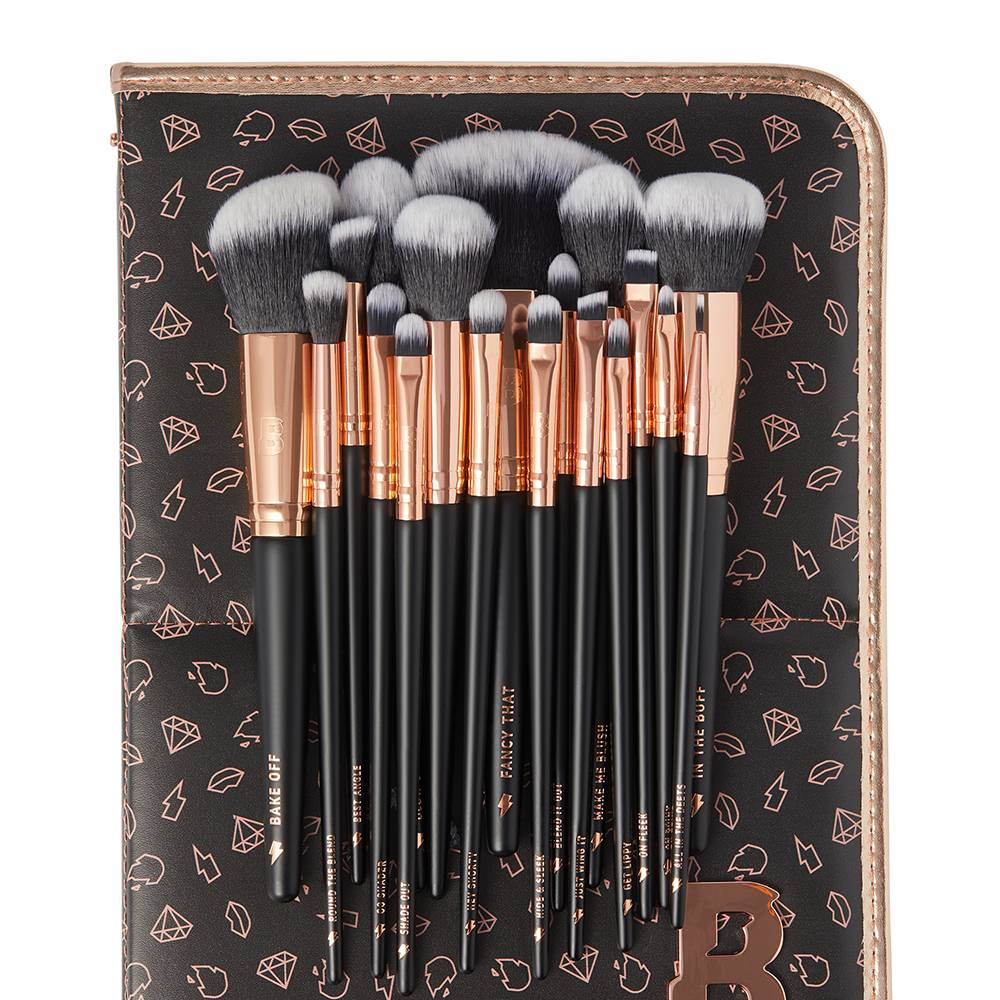 By BEAUTY BAY Rose Gold Glam 18 Piece Brush Set With Brush Stand