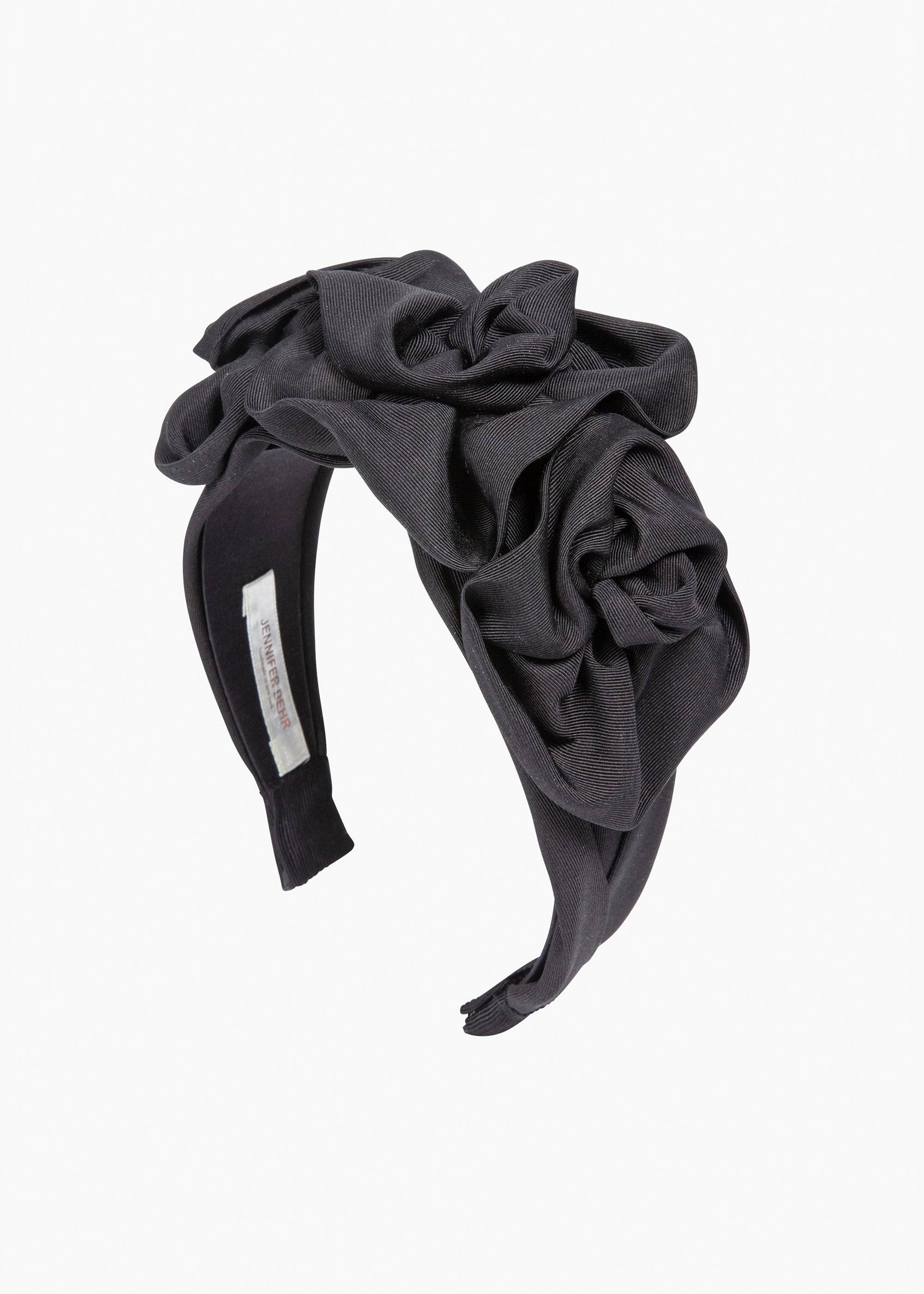 Jennifer Behr Triple Rosette in Silk Faille, Black