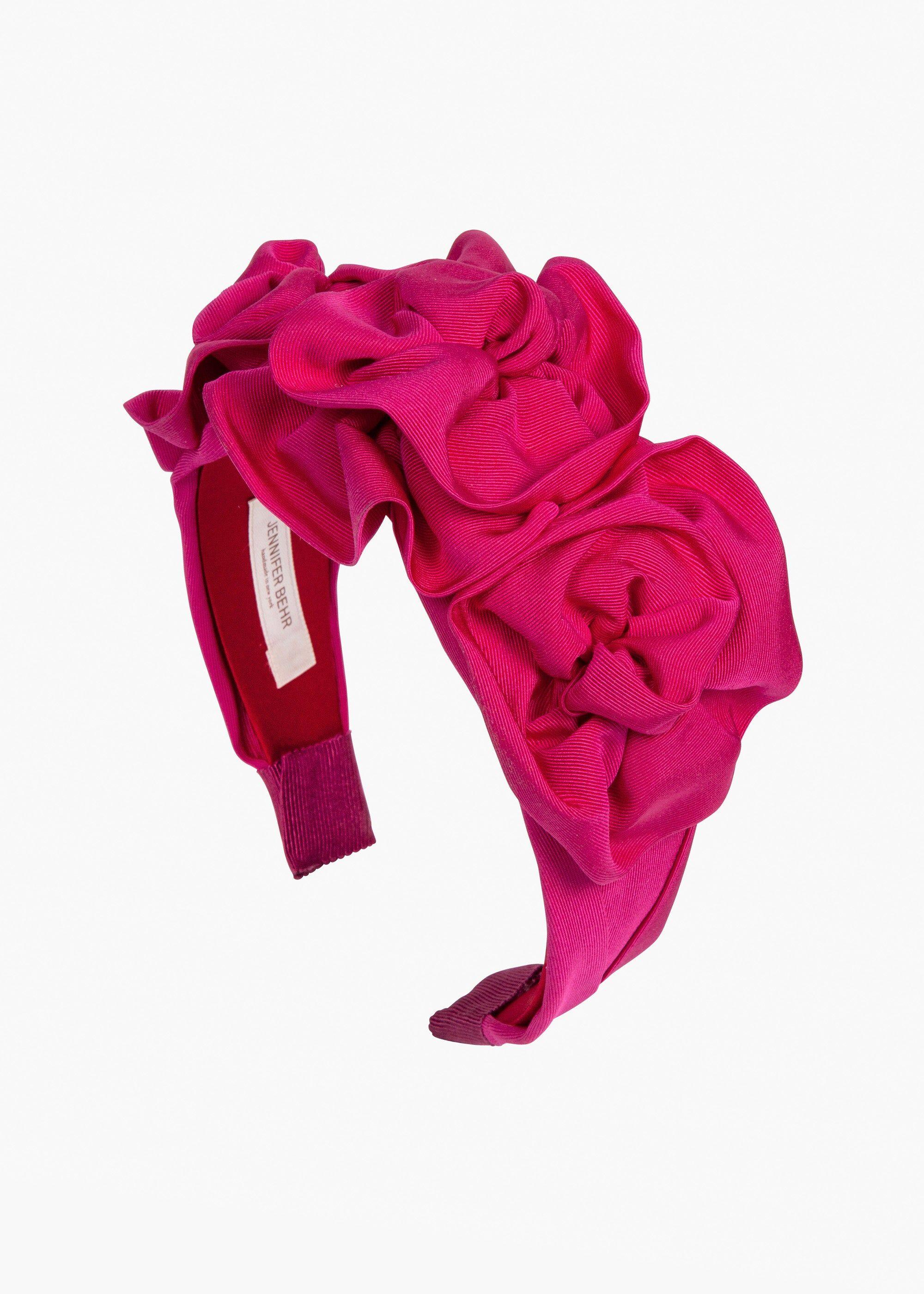 Jennifer Behr Triple Rosette in Silk Faille, Hot Pink