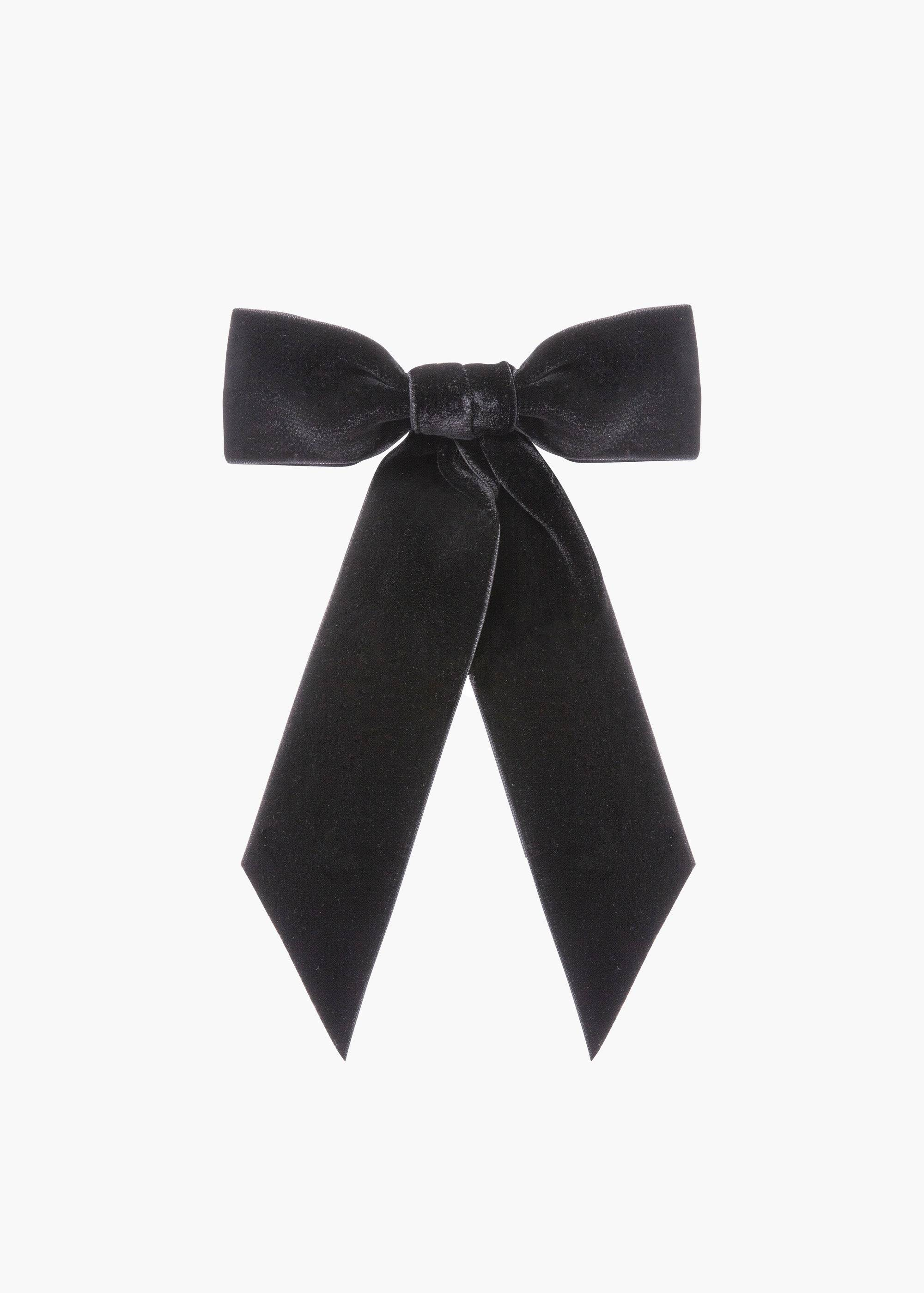 Jennifer Behr Wide Velvet Bow Barrette, Black