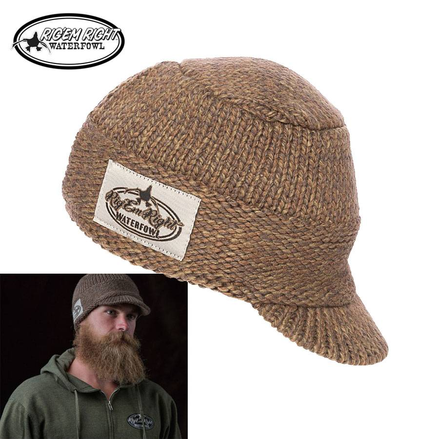 Rig'em Right Heavyweight Billed Knit Beanie- Olive Timber