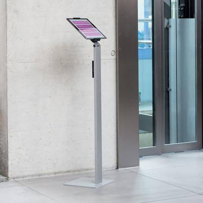 Durable 893223 Silver Metal Floor Stand Tablet Holder