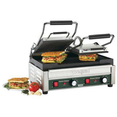 "Waring ""Waring WPG300 Panini Ottimo Grooved Top & Bottom Panini Sandwich Grill - 17"""" x 9 1/4"""" Cooking Surface - 240V, 3120W"""